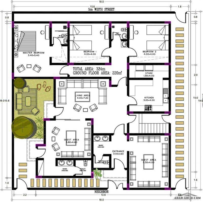 مخطط خاص دورين مساح الارض 18 18 متر كل دور منفصل عن الاخر من اعمال شركة عمار المتقدمة للمقاولات House Roof Design Square House Plans Single Storey House Plans