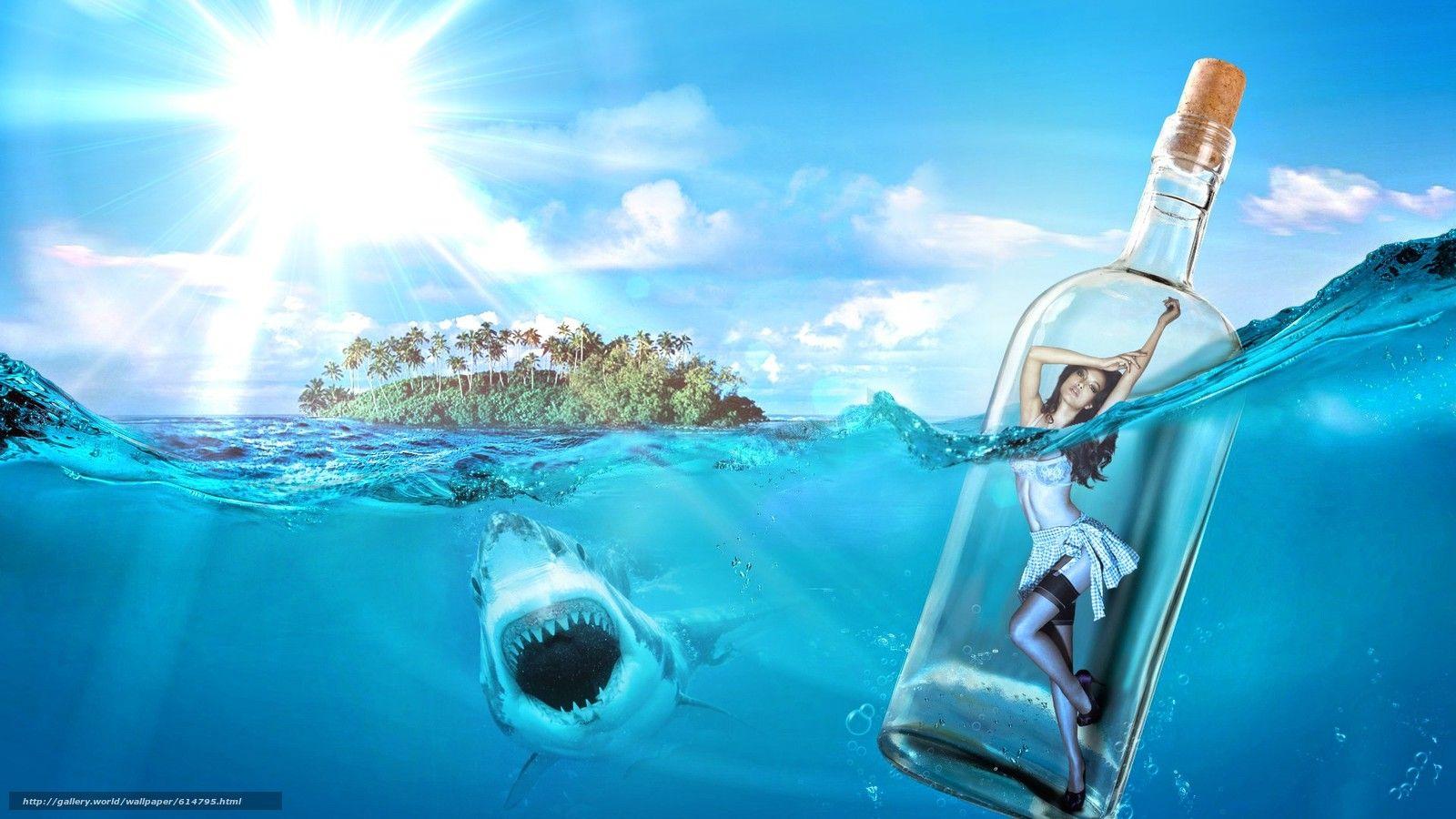 壁紙をダウンロード 海 鮫 島 瓶の中の少女 デスクトップの解像度の