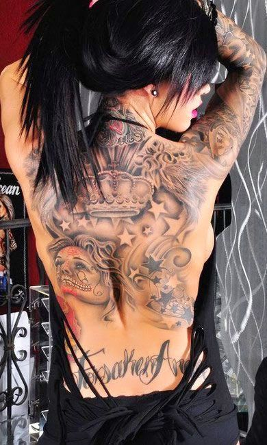 Full Back Women Colorful Tattoo Designs Girl Tattoos Tattoos Back Piece Tattoo
