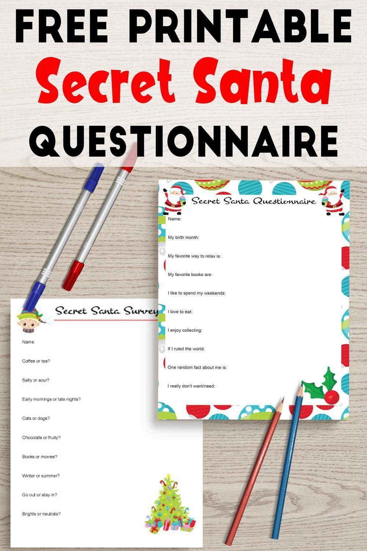 Free Printable Secret Santa Questionnaire Secret Santa Survey Secret Santa Questionnaire Office Secret Santa Secret Santa Questions Office secret santa questionnaire templates