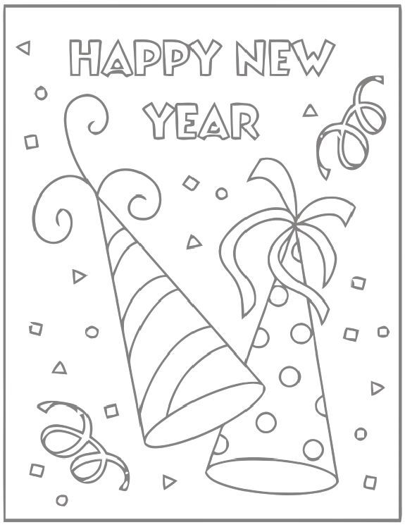 Happy New Year Party Hats | Digi Stamps | Pinterest