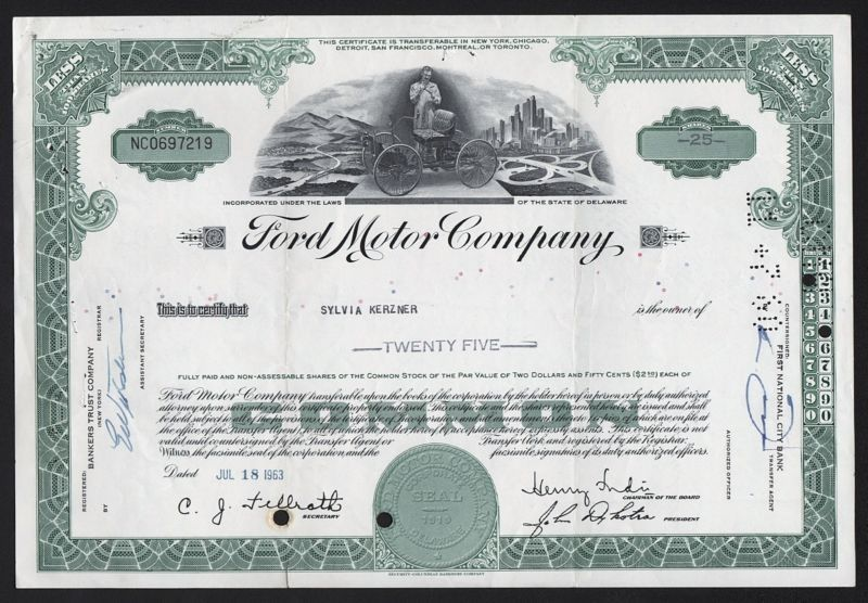 Stock Bond 1963 Ford Motor Company Ford Motor Company Ford