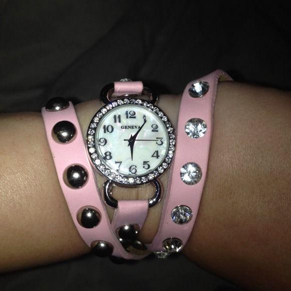 Geneva Pink Wrap Around Watch Bracelet
