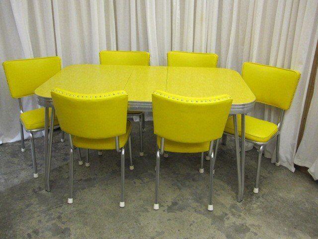 Retro Mid Century 1950 S Yellow Chrome Table 6 Chairs