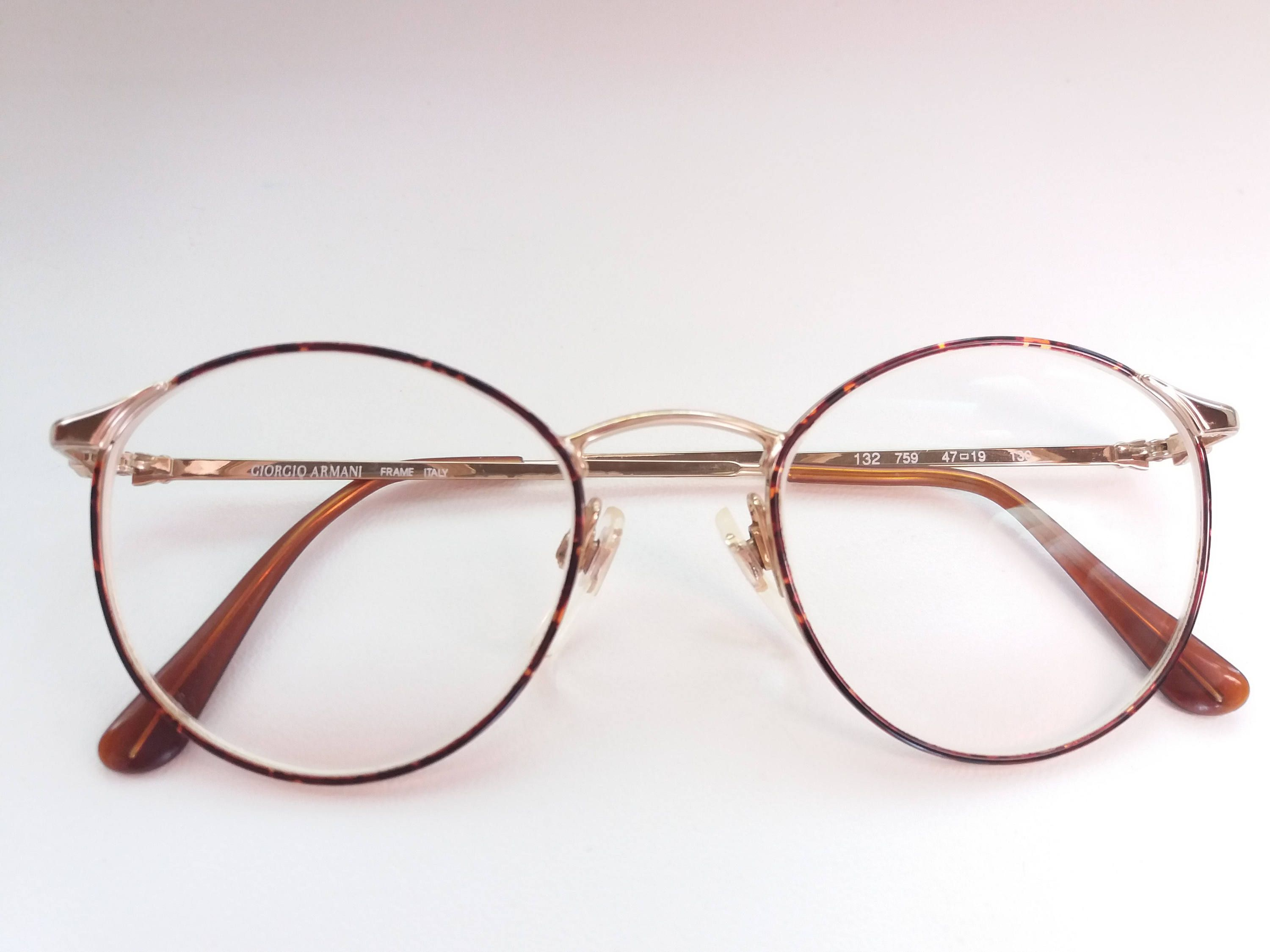 ec0c767df8fb Vintage GIORGIO ARMANI 132 759 EYEGLASSES tortoise and gold retro very rare  eyeglass frame