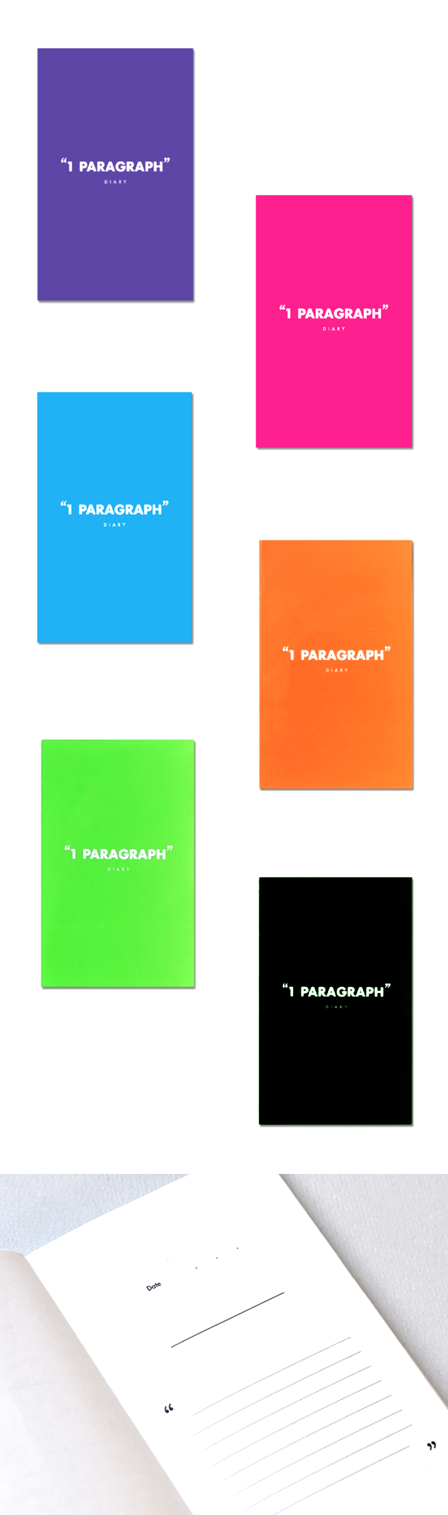 The Black One Paragraph Notebook is an ideal diary, journal, or log! Containing a total of 128 pages of recycled paper with 64 paragraph entries, this notebook works for notes in school or quick ideas on the go as well! Additional colors in Apple Green, Blue, Magenta, Purple & Urban Orange are now available at mochithings.com!