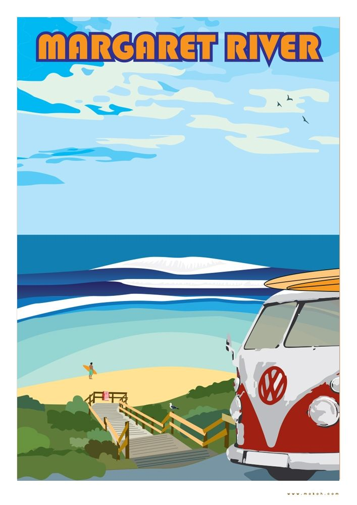 VW Campers On The Beach Poster Satin Matt Laminated New