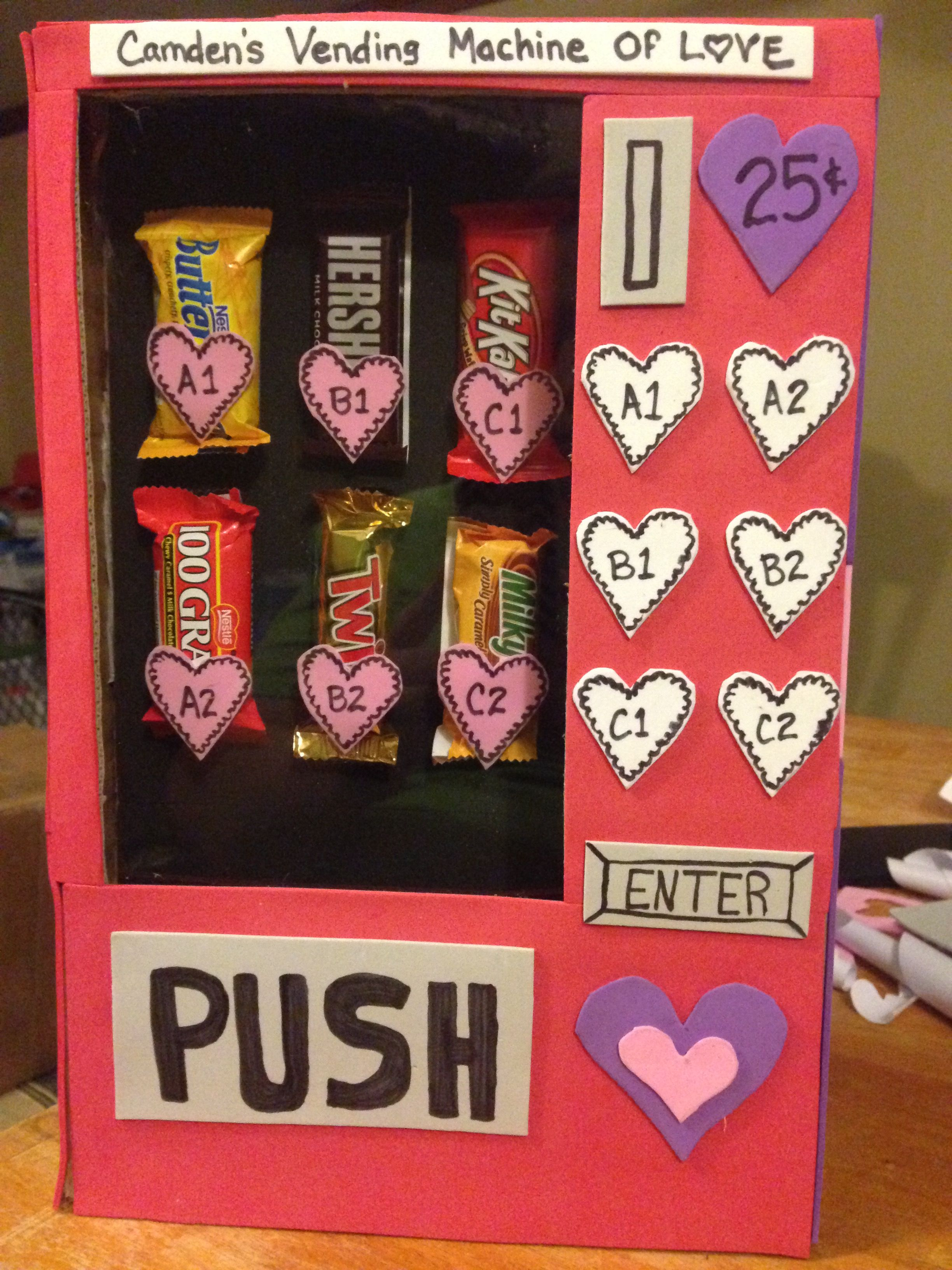 Valentine Vending Machine Box Shoe Plexigl For Insert L Stick Foam Cardboard With Candy Bars Hot Glued On Variations Are Endless