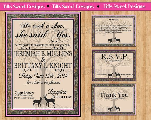 redneck wedding invitation camouflage and by tiffssweetdesigns, Wedding invitations