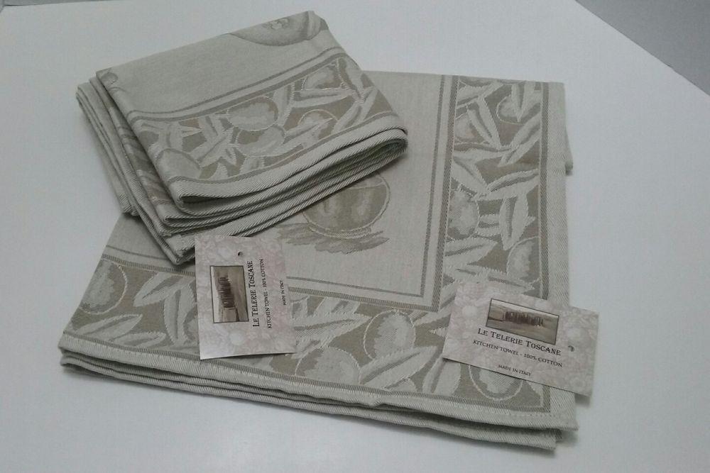 Le Telerie Toscane Italy Cotton Jacquard Kitchen Tea Towel L Olio
