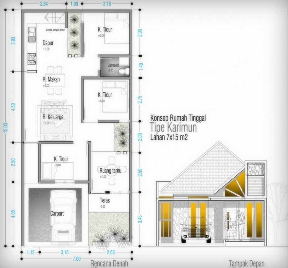63 Desain Rumah Minimalis 7 X 15 Rumah Minimalis