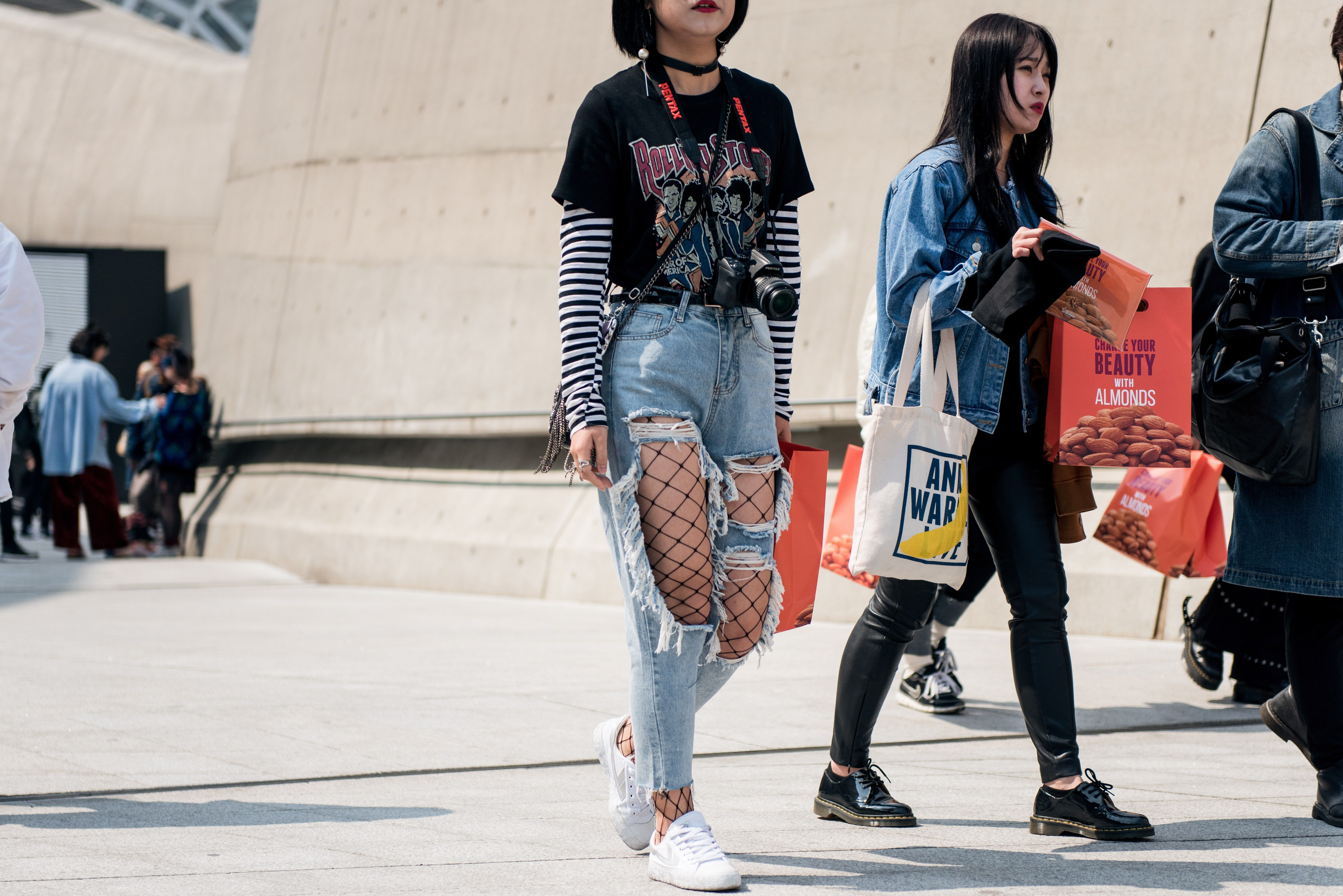 Ripped Jeans and Fishnets Are All You Need to Be A Street Style Star D Photos | W Magazine