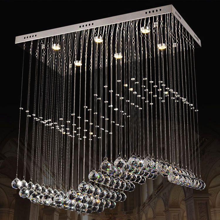 Dramatic Led Clear Crystal Flush Mount In Large Scale Chandelier