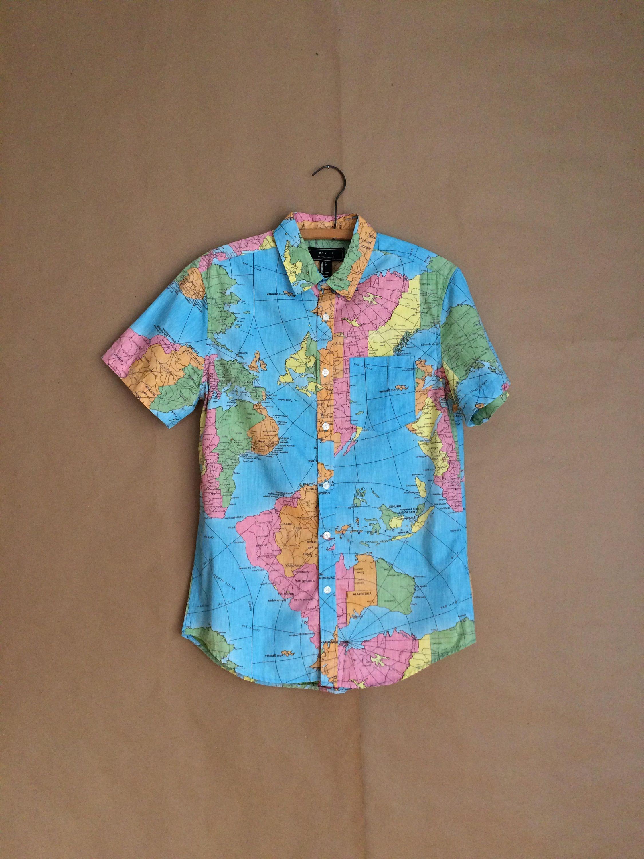 World Map Button Down Shirt.Weekend Sale 90 S Map Shirt Button Down World Map Mens Shirt
