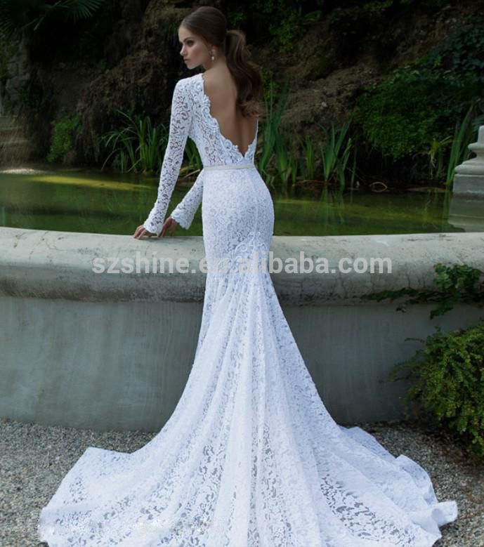 Long Sleeve Sheer Wedding Gowns Lace Y Crew Fishtail Dresses Mermaid