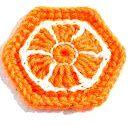 Uncinetto e crochet: Esagono arancione e bianco tutorial
