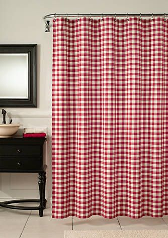 M Style Classic Check Barn Red Shower Curtain Red Shower