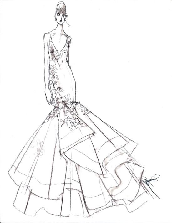 Wedding Dress Line Drawing : Fashion drawings wedding gowns dressses forward