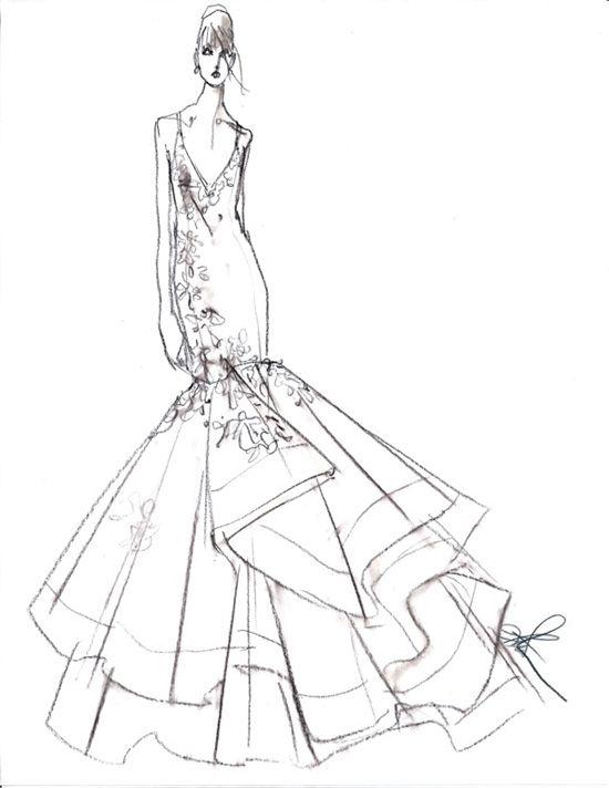 Wedding Dress Line Drawing : Fashion drawings wedding gowns dressses forward