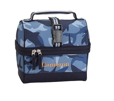 Navy Shark Camo Retro Mackenzie Lunch Box Reusable