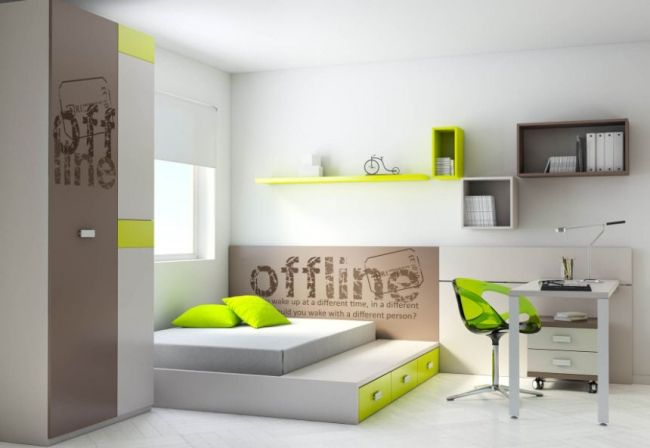 Ros Teenager Zimmer Bett Gastebett Akzente Limettengrun Zimmer