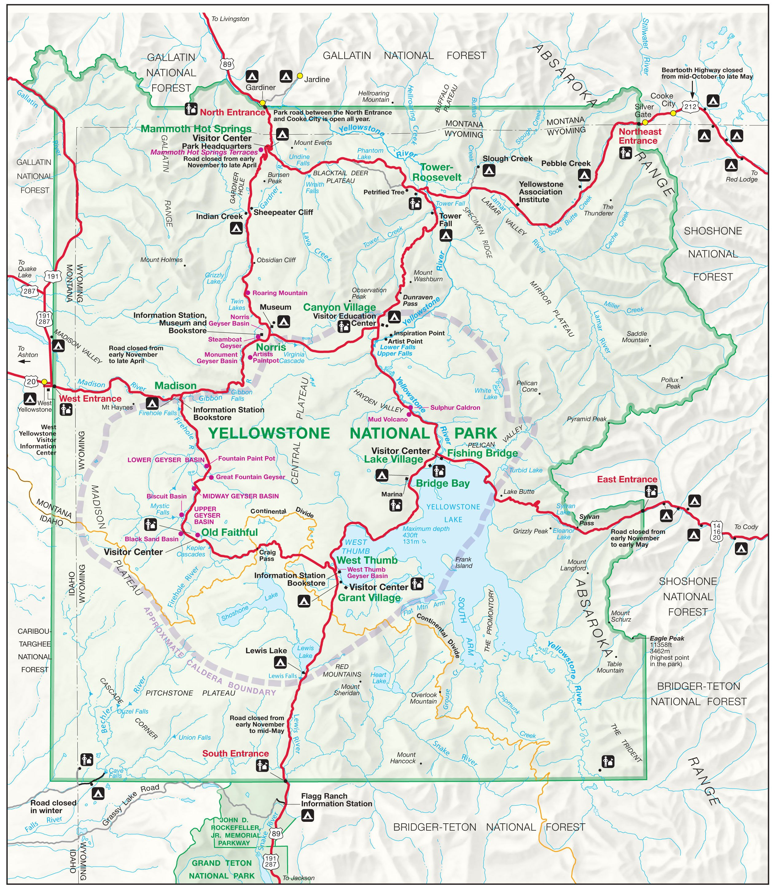 yellowstone national park map: the northernmost road runs through ...
