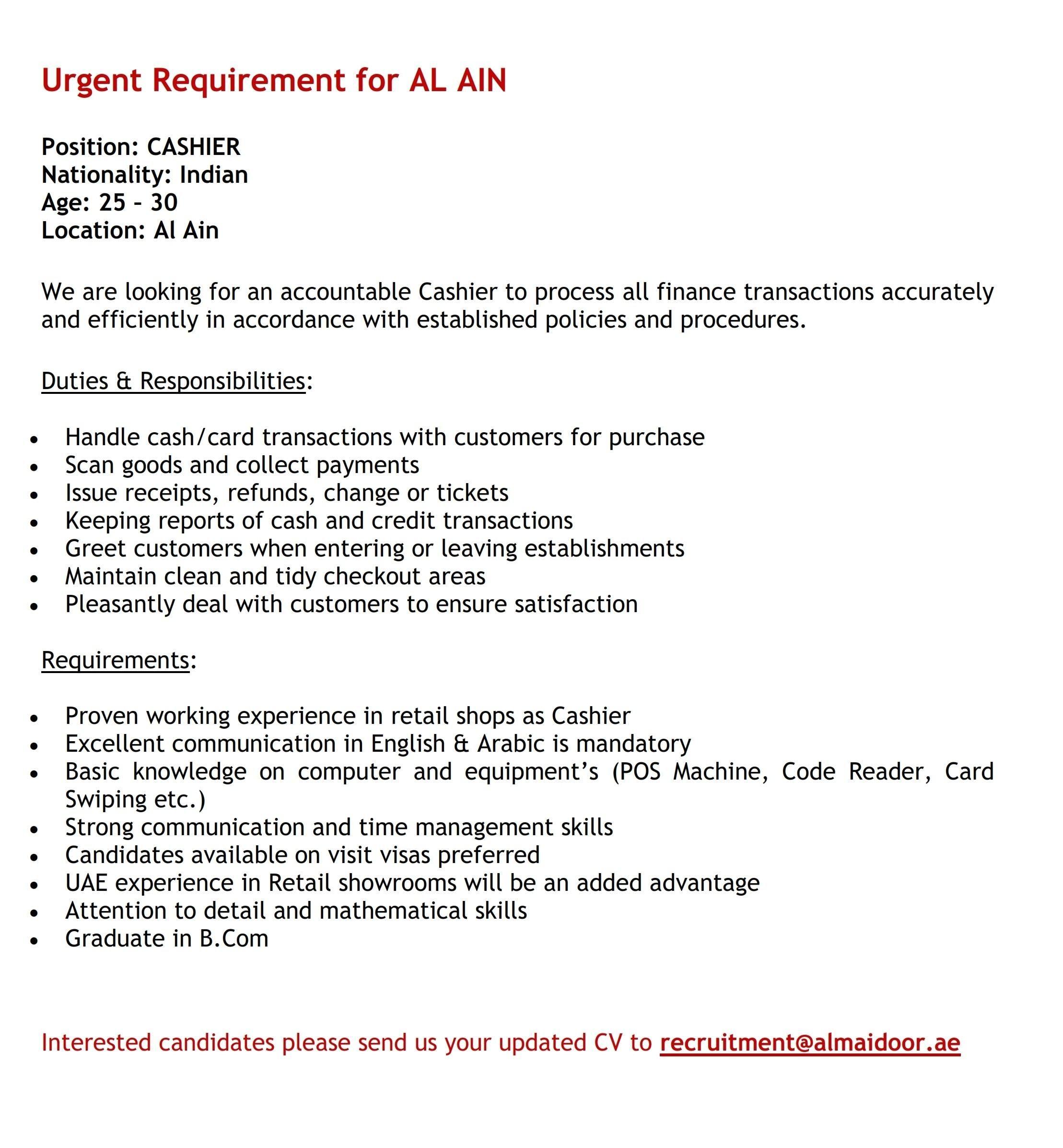 Latest Cashier Jobs Vacancies In Dubai Uae Dubai Job How To