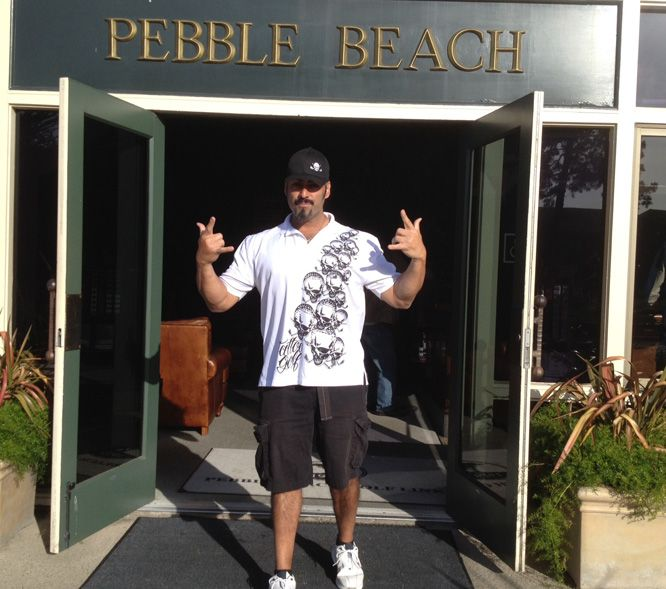 Antonio Restivo, former semi-finalist on America's Got Talent, at Pebble in OB polo from tattoogolf.com.