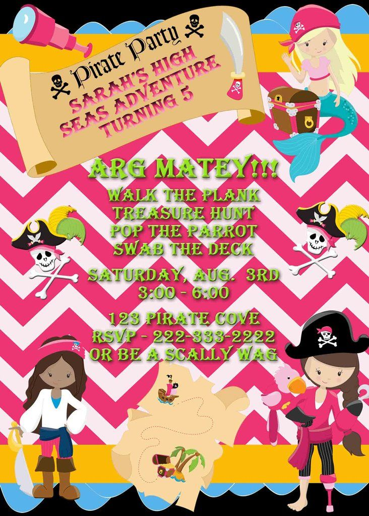 Pirate Party for Girls Walk The Plank Treasure Map Birthday ...
