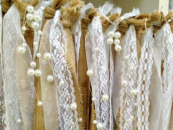 Burlap Lace Pearl Wedding Garland Wedding by CraftyNestSupplies