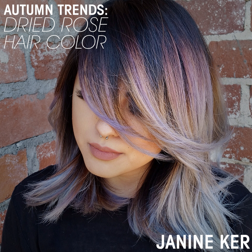 Autumn Trends Dried Rose Hair Color Janine Ker Long Bob With Bangs Lob Haircut With Bangs