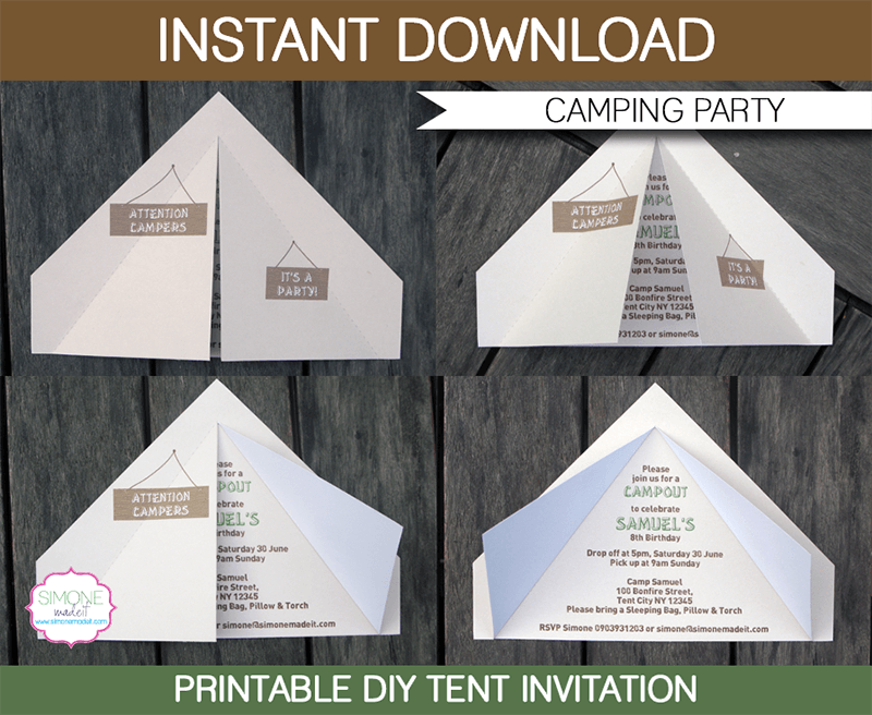 Camping Tent Invitation Template Invitation Templates Birthdays