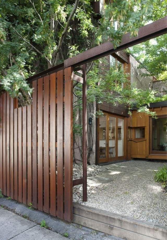 Schiebe Holzzaun moderne Architektur minimalistischer Innenhof - trennwand garten holz
