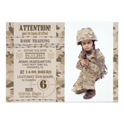 Army Desert Camouflage Military Birthday Invitation Birthday