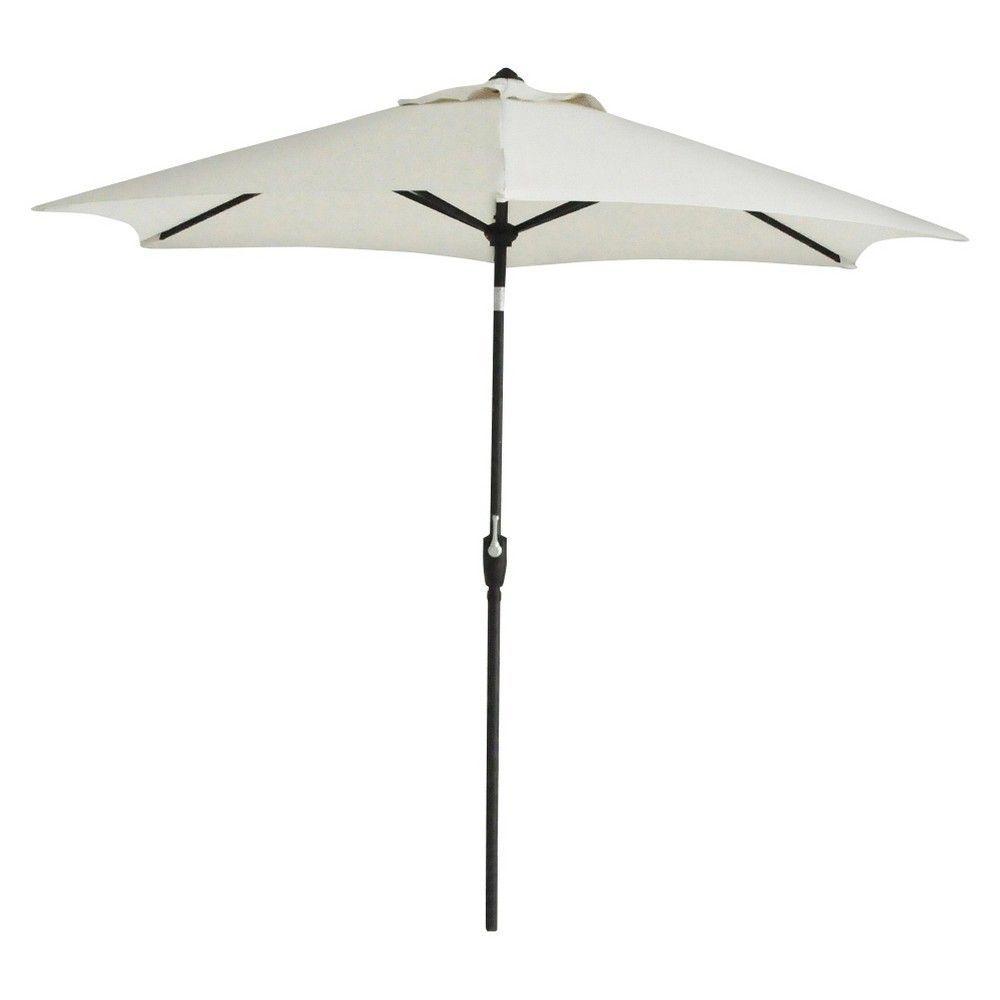 9u0027 Round Aluminum Patio Umbrella   Linen   Black Pole   Threshold