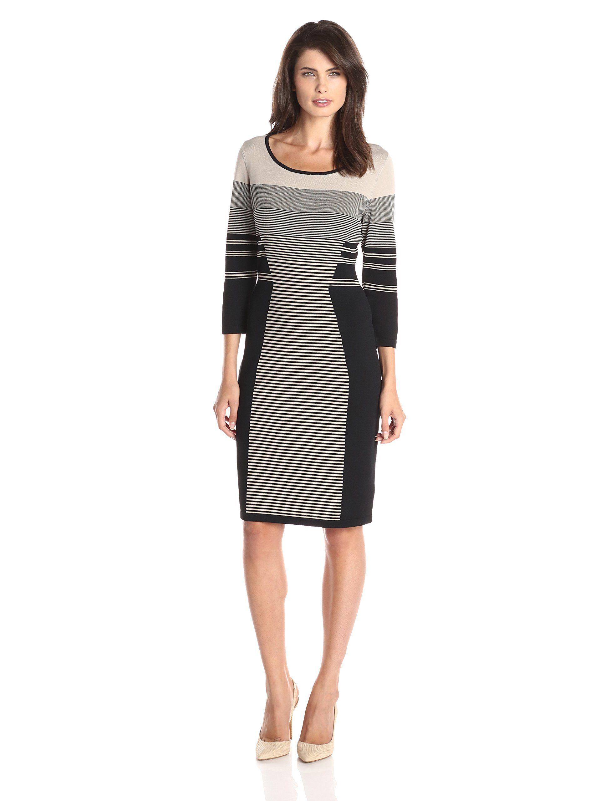 Calvin Klein Women S Long Sleeve Mixed Stripe Dress Casual Dresses For Women Women Long Sleeve Casual Dress Outfits [ 2560 x 1969 Pixel ]