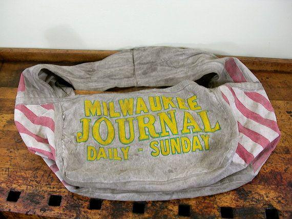Rare Vintage Newspaper Delivery Bag Milwaukee Journal Etsy Vintage Messenger Bag Vintage Newspaper Newspaper Delivery