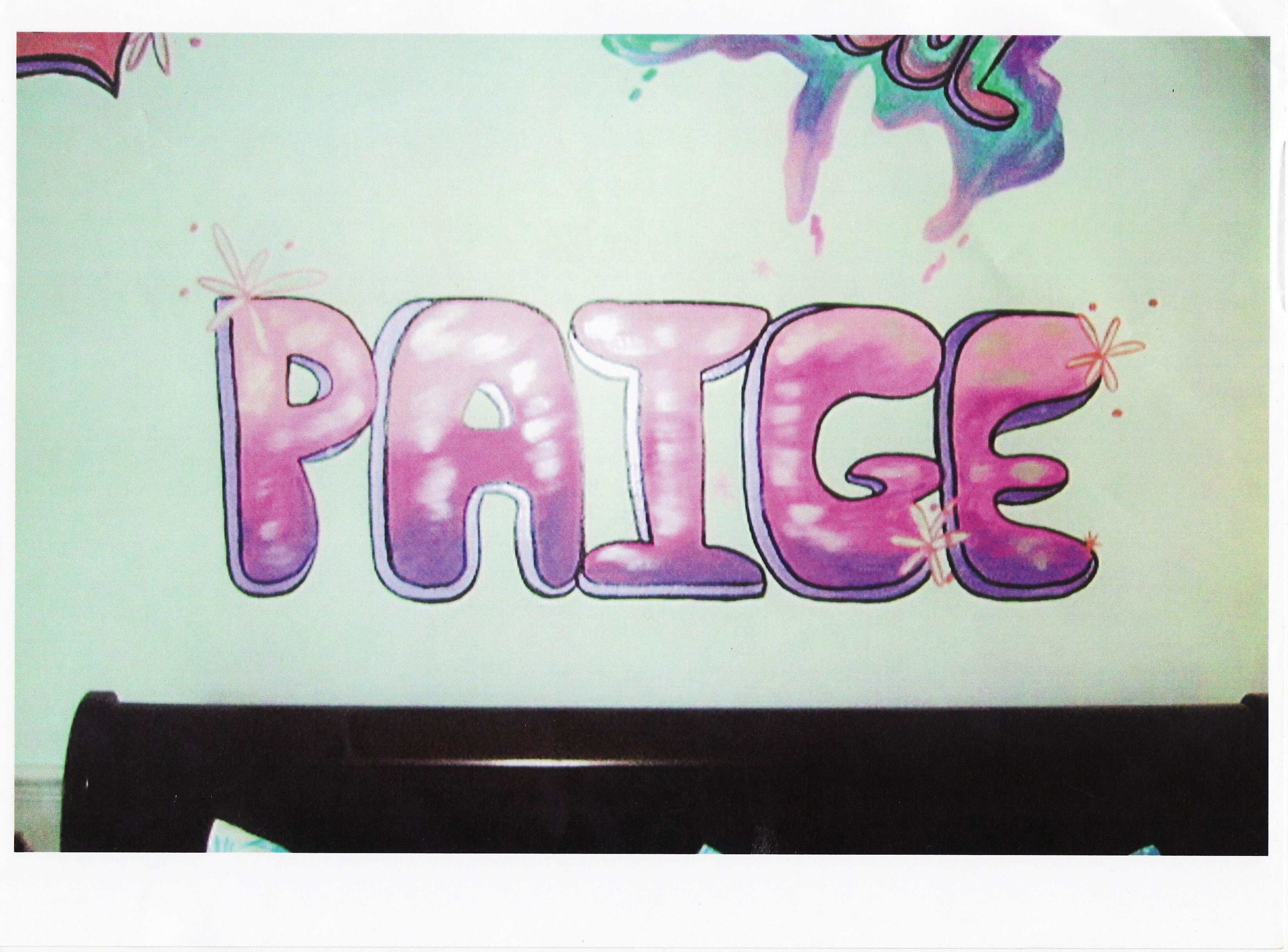 Child S Name On Head Board Wall Mural Painting Names Mural
