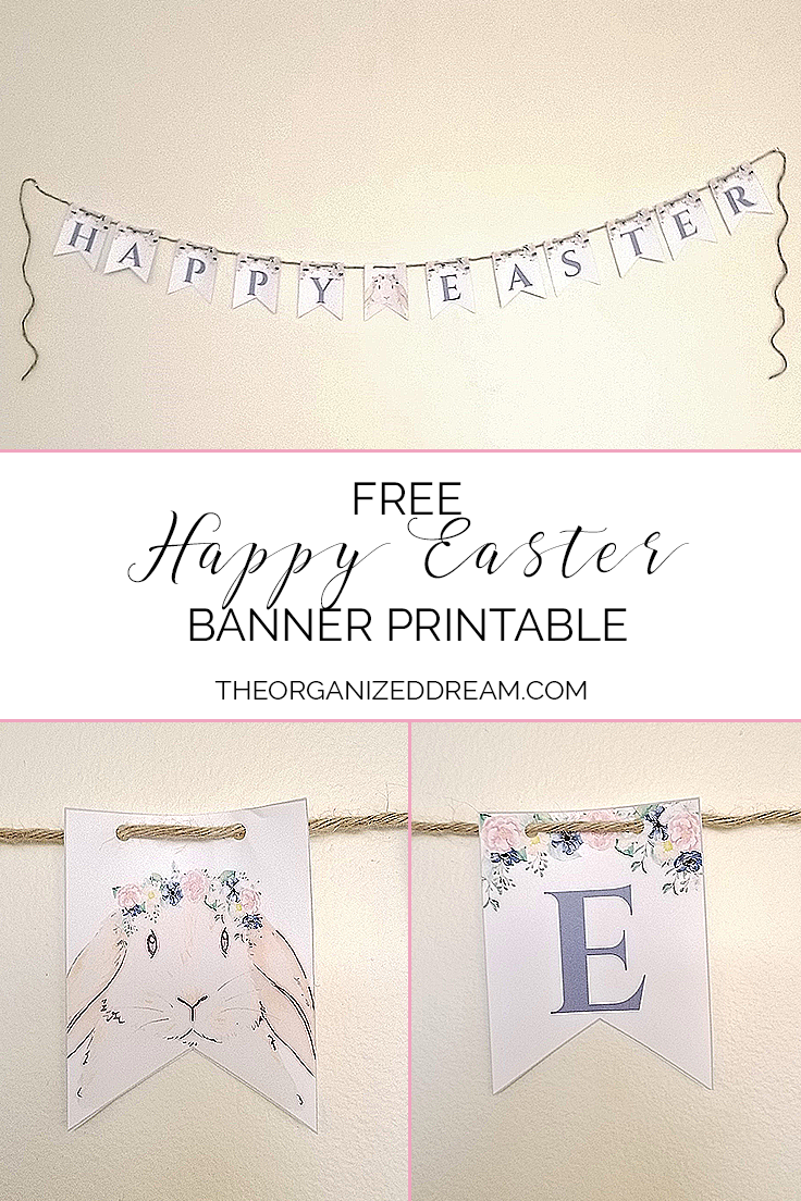 picture regarding Easter Banner Printable named No cost Delighted Easter Banner Printable #homedecor #printanle