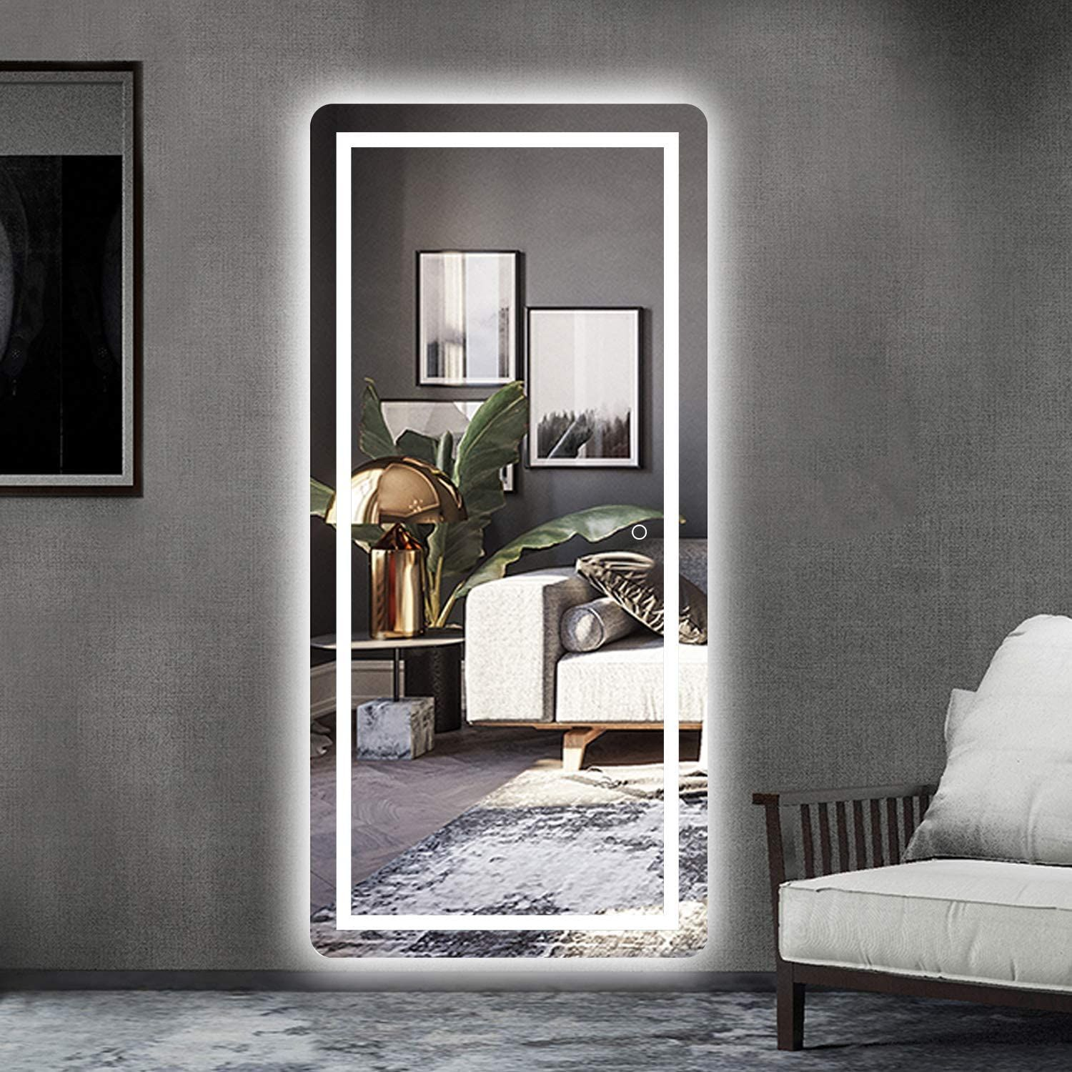 Led Mirror Full Length Mirror Wall Mounted Mirror With Lights Dressing Mirror For Bathroom Bedroom Living Room Dimmer Touch Switch Waterproof 47 X 22 Walmar Mirror Decor Living Room Living Room Mirrors Full length mirror with led lights