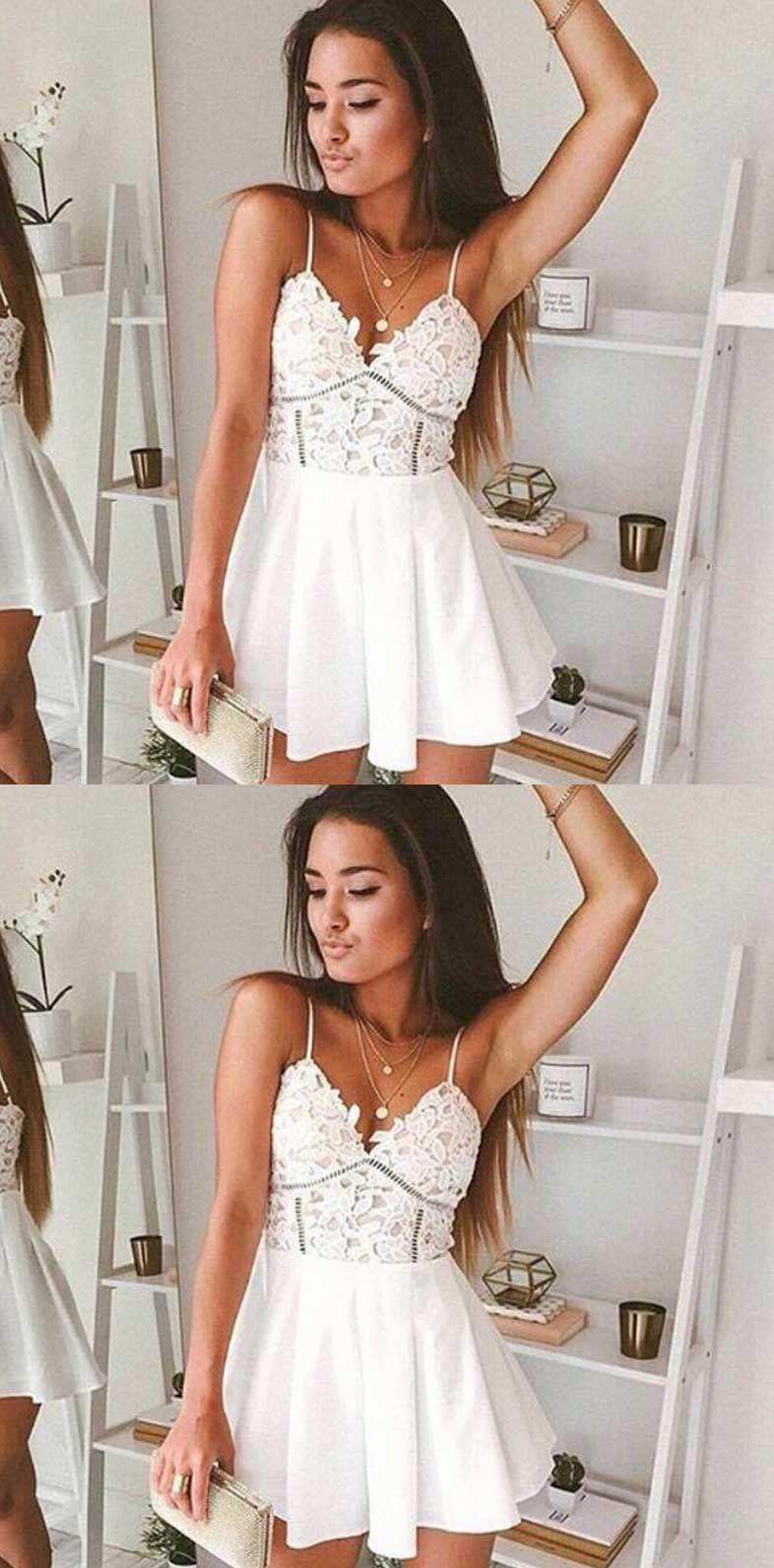 White Lace Homecoming Dress Short Prom Dress V Neck Homecoming Dress Prom Dress With Lace Spagh Mini Homecoming Dresses Cute Prom Dresses Prom Dresses Short [ 1593 x 786 Pixel ]