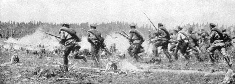 Onwards Russian Soldiers Charge At Tannenberg During A First World War Battle That They Would Eventually Lose Battle Of Tannenberg World War First World