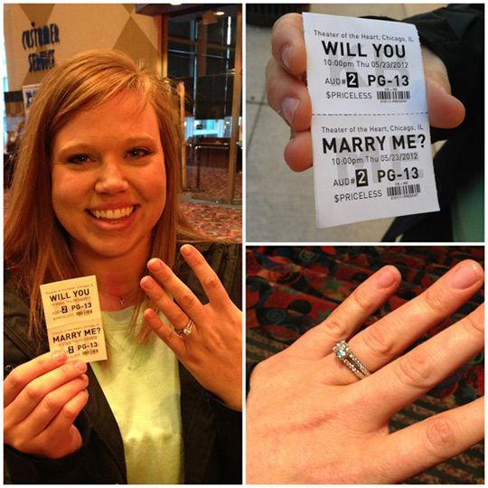 Charming Marriage Proposal With Faux Movie Ticket The Movies