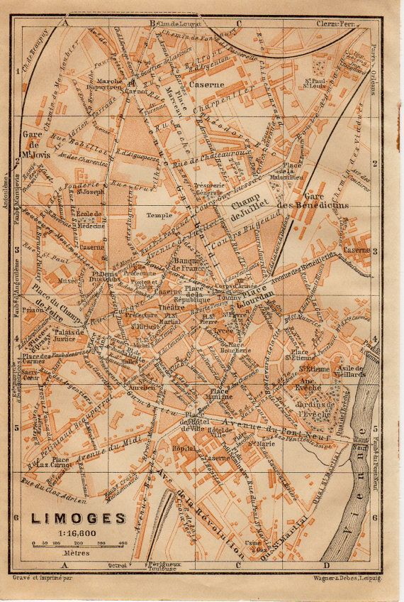 Limoges France Map.1914 Limoges France Antique Map Haute Vienne Limousin Region