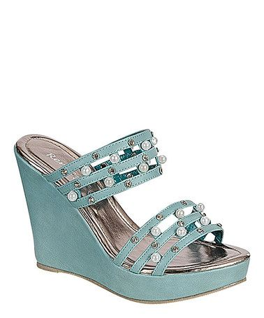 84d40bb37851e3 Look what I found on Blue Joy Wedge Sandal by Reneeze