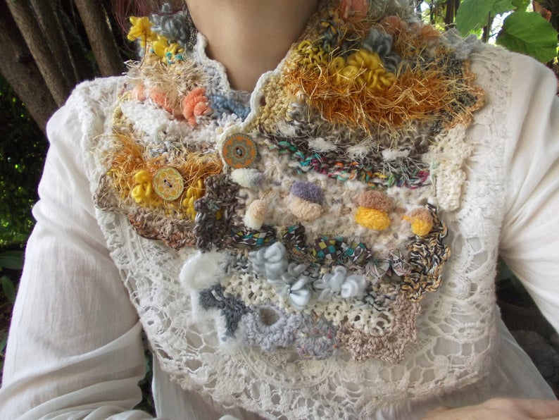 Photo of Neck warmer and GIFT earrings Beige yellow white colorful neck warmer wooden buttons Patchwork knit scarf unique crochet boho Christmas gift