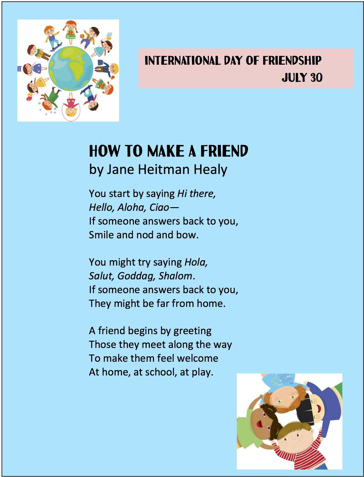 How To Make A Friend By Jane Heitman Healy From The