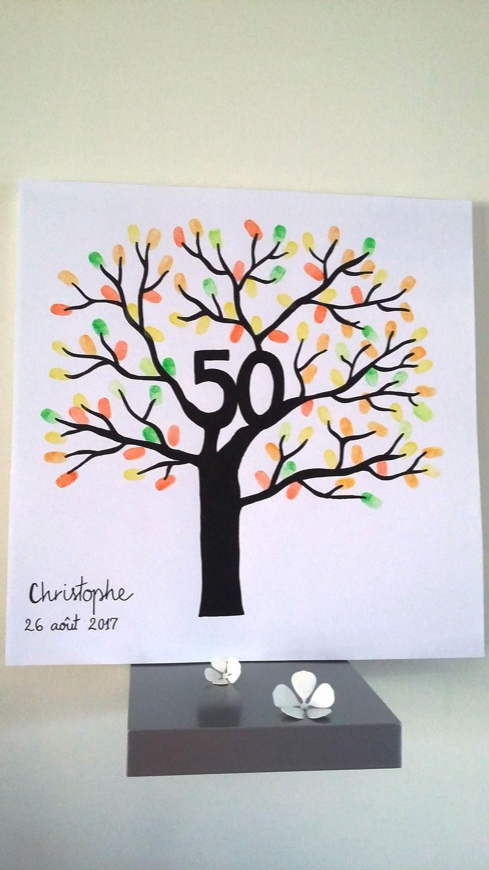 arbre empreintes 50 ans anniversaire anniversaire de mariage d corations murales. Black Bedroom Furniture Sets. Home Design Ideas
