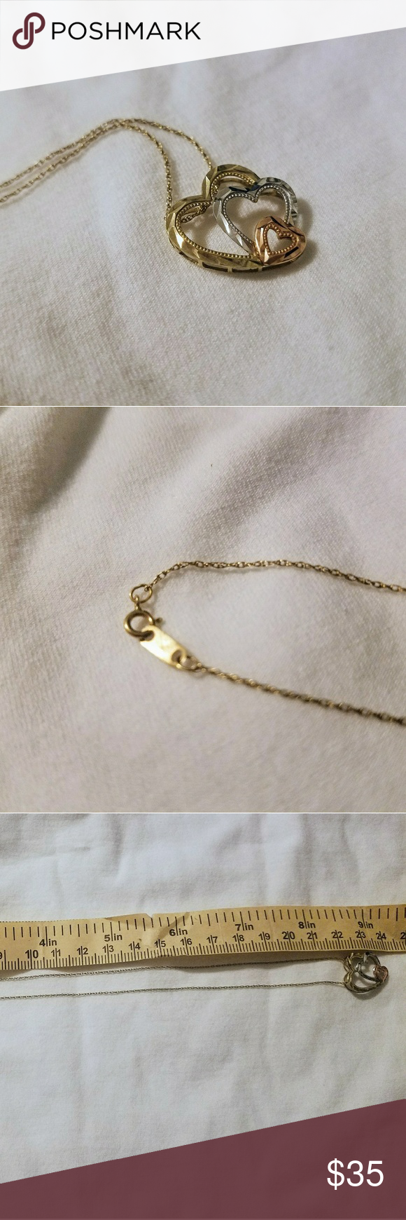 10kt Gold Necklace With Trio Heart Pendant 10kt Gold Heart Pendant Gold