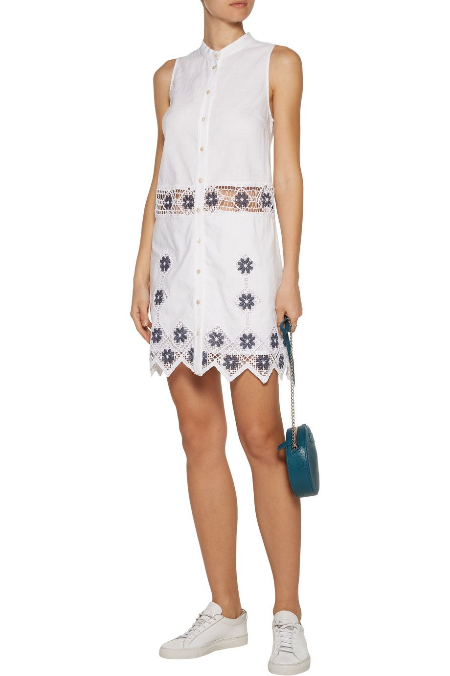 On Suno Embroidered Linen And Cotton Blend Mini Dress Browse Other